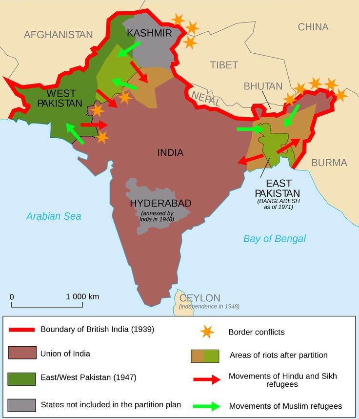 Map showing movements after partition (1947), areas of conflict and old 'British India' boundary.