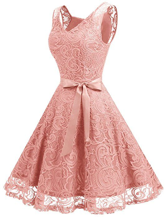 f0637c870207 Dressystar Women Floral Lace Bridesmaid Party Dress Short Prom Dress V Neck  XS Blush at Amazon Women's Clothing store: