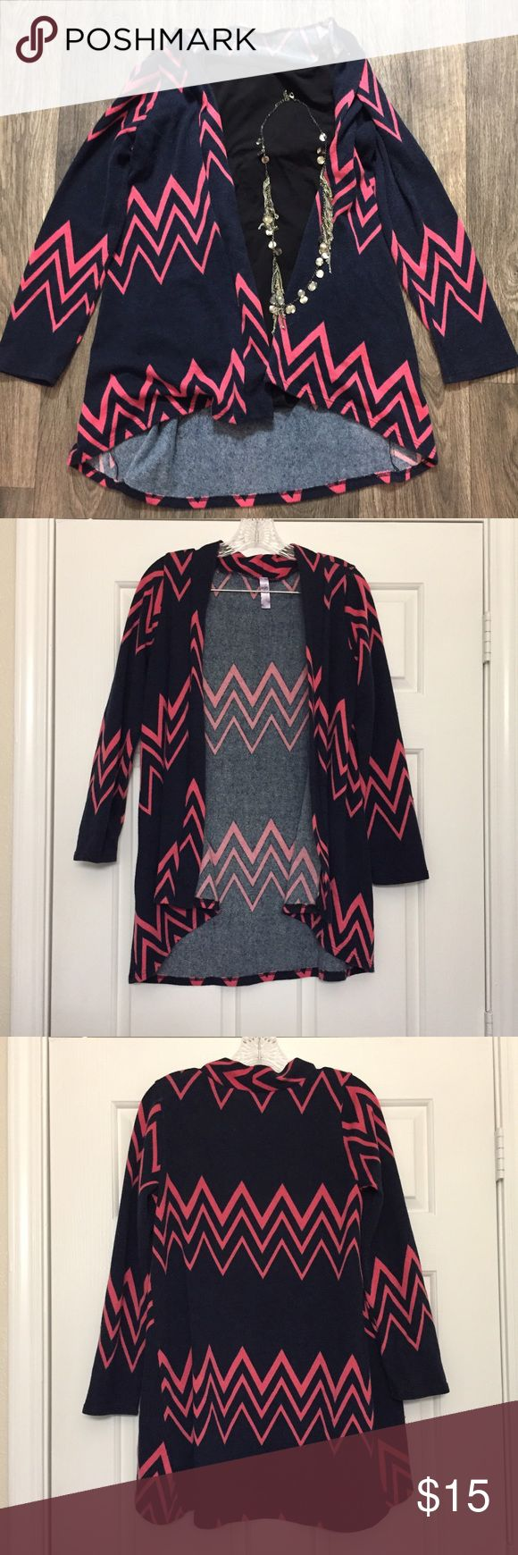 Pink Chevron Cardigan This is a purple cardigan with pink chevron pattern. 100% Polyester. Make me an offer! Alya Sweaters Cardigans