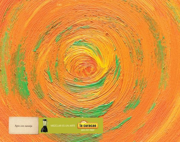 Mix is an art  -- (La Curacao Store,   Celery with Orange)   ---      These are the names of delicious juice fruit mixes.  The image is a visual analogy of the top view of the twirl in the blender and the mix oil color brushstroke.