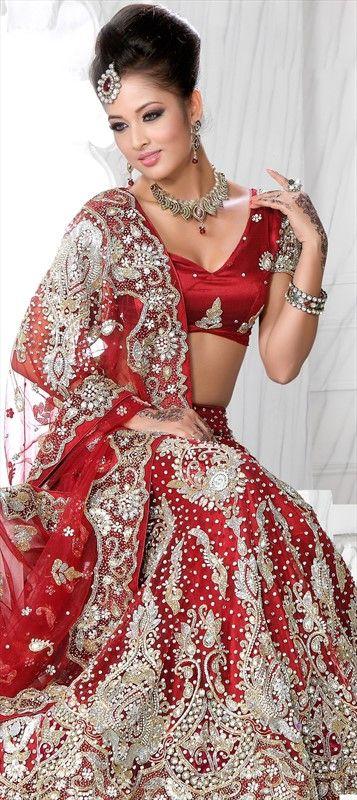 83365, Wedding Lehngas, Bridal Lehenga, Net, Zardozi, Machine Embroidery, Cut Dana, Stone, Red and Maroon Color Family