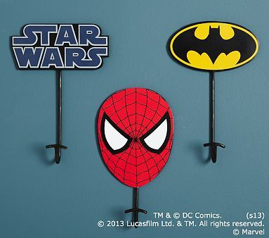Batman, Spider-Man &Star Wars Hooks #PotteryBarnKids