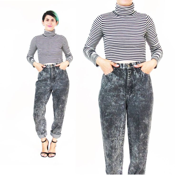 New to honeymoonmuse on Etsy: 1980s Black Acid Wash Jeans High Waisted Jeans Grunge Tapered Leg Jeans Slim Punk Skinny Jeans Mom Jeans Grunge Rocker Womens Denim (M/L) (60.00 CAD)
