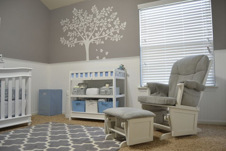 Best Grayson Baby Room Gray And White Themed With Blue Accents Wainscoting In White On Gray 400 x 300