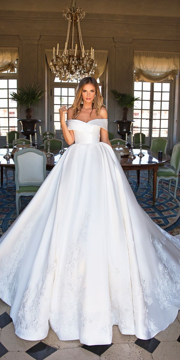 30 Simple Wedding Dresses For Elegant Brides ❤ simple wedding dresses ball gown off the shoulder elegant milla nova virginia ❤ See more: http://www.weddingforward.com/simple-wedding-dresses/ #weddingforward #wedding #bride #bridalgown