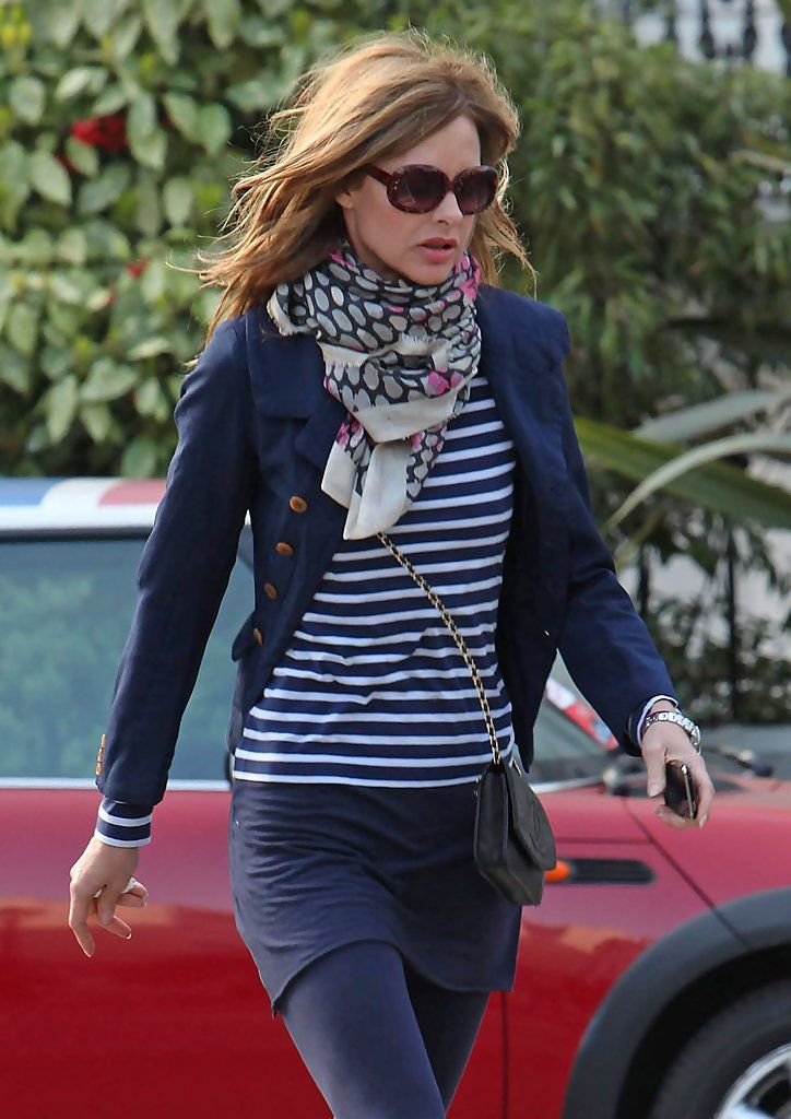 Short blue blazer, striped top and patterned scarf