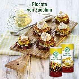 Piccata von Zucchini. Tolles Rezept von Lebensbaum. Fotografie und Packaging von adworx.