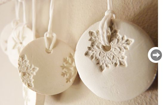 porcelain snowflake ornament these would be beautiful covered in silver glitter
