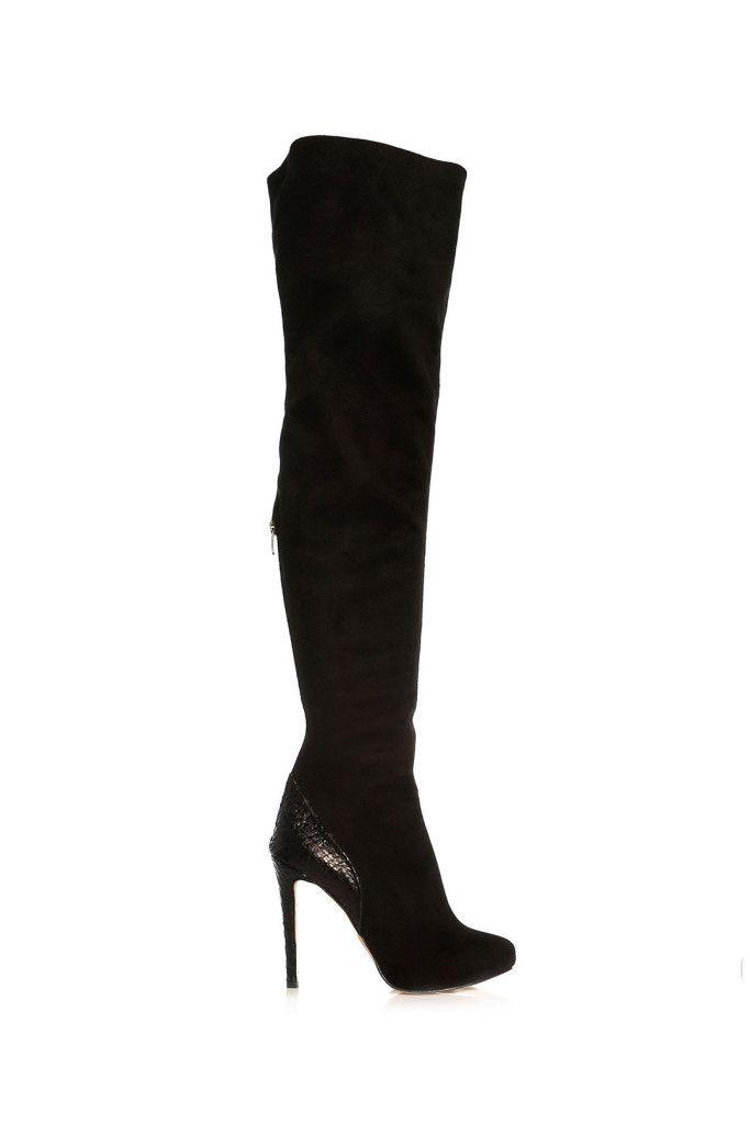 siyah süet uzun çizme