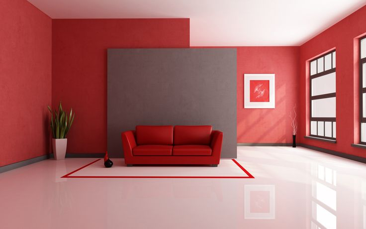 House Design,Casual Living Room Interior Design Wit Red Wall Paint On Combined White Ceramic Tile Floor And Trendy Red Leather Cushioned Loveseat Also Beautiful Painting On The Wall,Top Choice Minimalist Modern Interior Design For Your Home