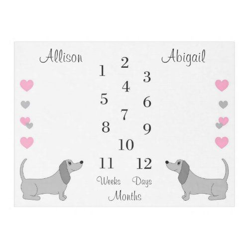 Dachshund Puppy Dog Baby Girl Twin Milestone Month Fleece Blanket Zazzle Com In 2020 Dachshund Puppy Baby Dogs Dogs And Puppies