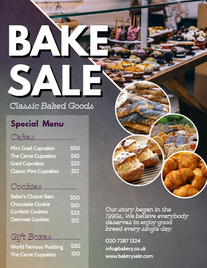 Bake sale price list and special menu template Price List