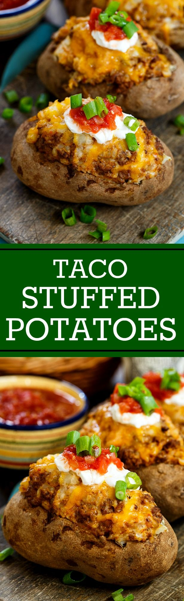 Ground beef cooked in taco seasoning, lots of cheese and sour cream make these stuffed potatoes a hearty and delicious meal.
