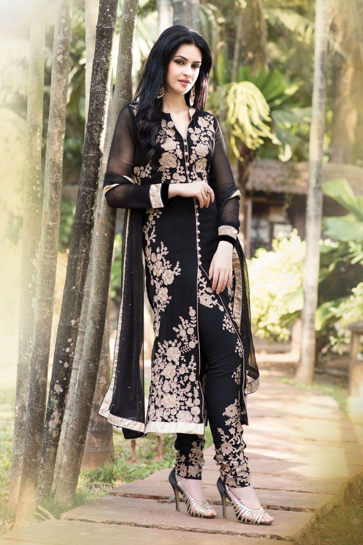 Black Faux Georgette Salwar Kameez with Embroidered