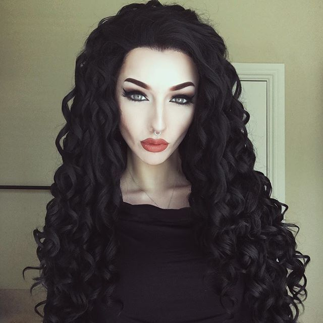 Just got a gorgeous new wig from @evahairofficial! I miss my dark hair so much so I needed a compromise  this is the ash black curly wig  (coupon: April4u to save $$$) #evahairofficial #wig #lacefront #darkhair #limecrime #riotvelvetine