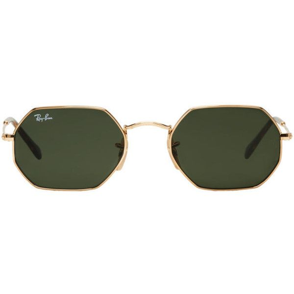Ray-Ban Gold Octagonal Flat Sunglasses (8.450 RUB) ❤ liked on Polyvore featuring men's fashion, men's accessories, men's eyewear, men's sunglasses, gold, ray ban mens sunglasses, mens tortoise shell sunglasses, mens gold sunglasses and mens flat top sunglasses