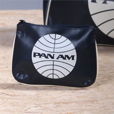 pan am globe cosmetic pouch bag blue with white pan am. Black Bedroom Furniture Sets. Home Design Ideas