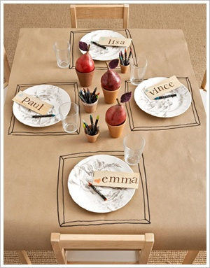cover the table in brown paper and let them doodle away! awesome for a lunch play-date!