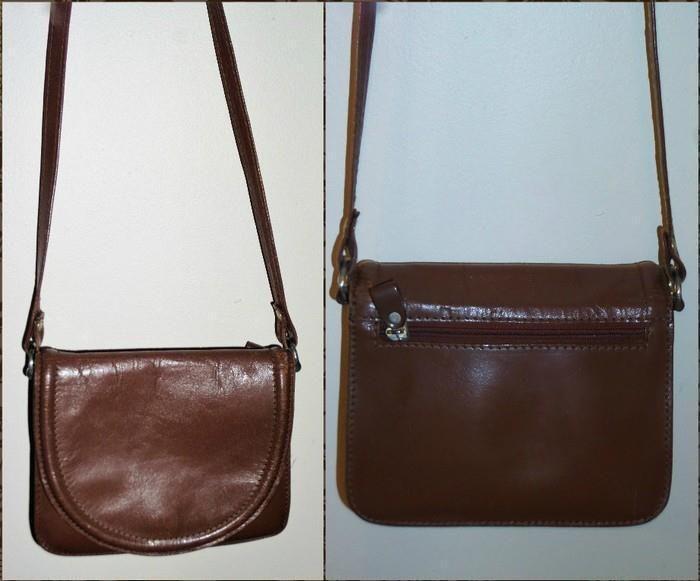 OGGI DOMANI vintage CROSSBODY SATCHEL BAG brown leather SHOULDER SIDE BAG hand