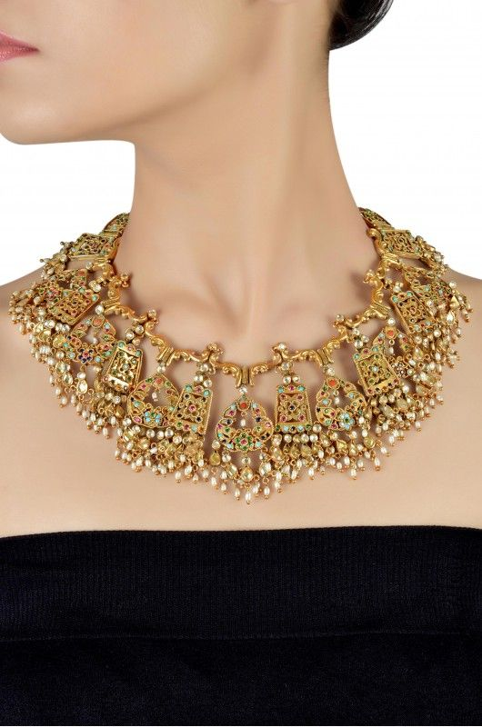 Silver Gold Plated Traditional Mughal Motif Colored Zircon And Crystal Pearl Drop Necklace