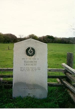 Elizabeth Crockett (wife of David Crockett) Home Site Texas Centennial Marker, Granbury TX