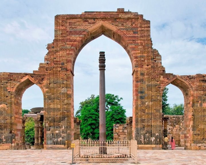 The Iron Pillar of Delhi    The Iron Pillar of Delhi is a 1,600-year-old, 22 feet high pillar located in the Qutb complex in India. The pillar, made from 98% wrought iron, has been astounding scientists by its ability to resist corrosion after all these years.