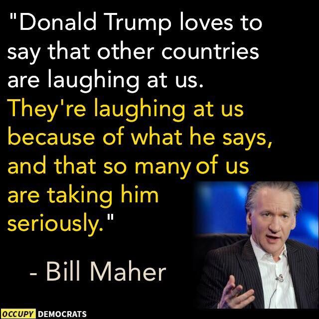 They're laughing because America is becoming so gullible that it tolerates people like Trump. At what time in history did another country petition to ban a presidential candidate? Never. Only arrogance would look at that and shrug their shoulders.