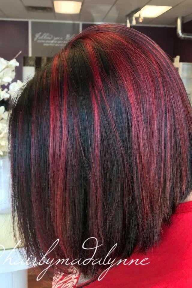 Red Hair Black Hair Red Highlights Black Lowlights Hair Low Lights Hair Hair Hair Styles