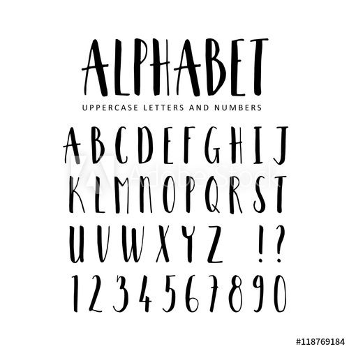 Hand drawn vector alphabet. Sans Serif brush font. Isolated letters, numbers wr…