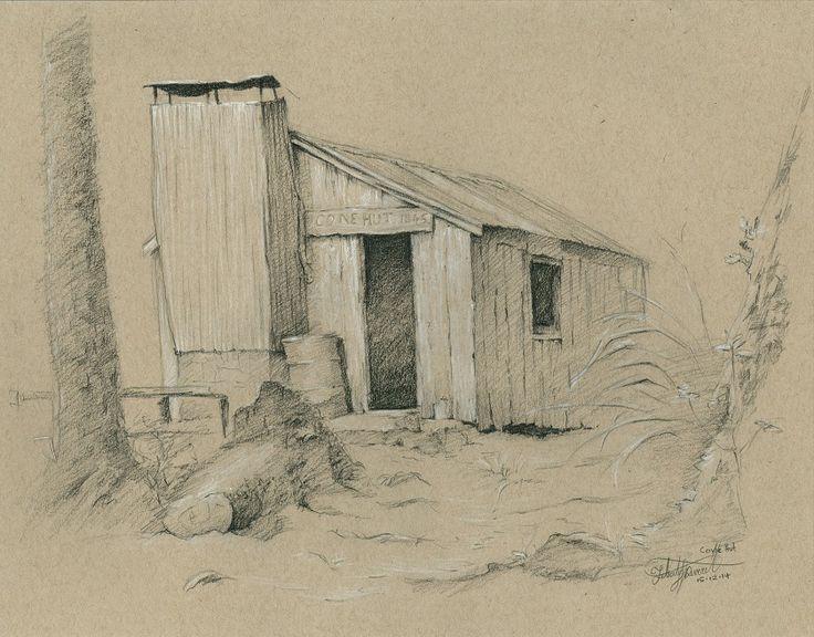 Cone Hut. Tararua Ranges, NZ. Drawn en plein air by Felicity Deverell. The Art of a Hut Collection