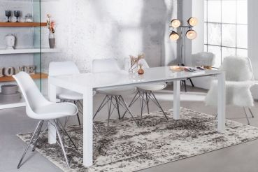 Livinio - Design Esstisch POLAR Weiß 140-170-215cm Ausziehbar