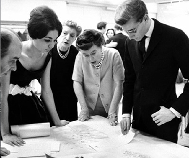 Yves Saint Laurent at Christian Dior showing designs for the wedding dress for Empress Farah Pahlavi. 1959