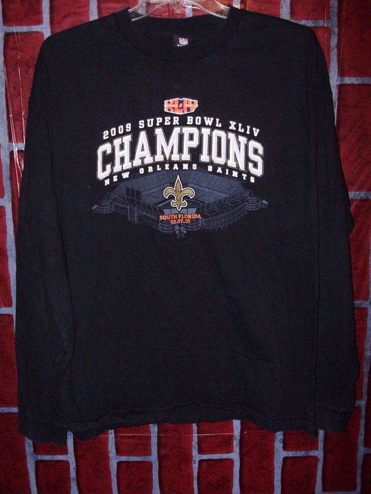 New Orleans Saints Black 2XL Shirt NFL Football Superbowl Champions 2009 Black #NFL #NewOrleansSaints