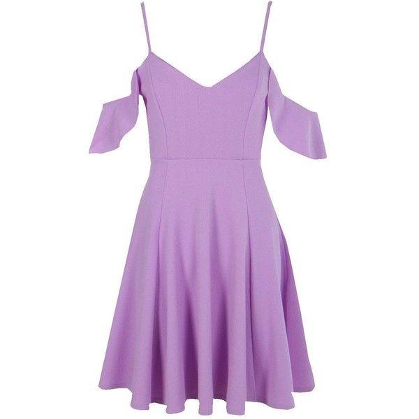 Boohoo Grace Strappy Drop Shoulder Skater Dress   Boohoo ($21) ❤ liked on Polyvore featuring dresses, midi dress, purple maxi dress, spaghetti-strap maxi dresses, purple dress and bodycon party dresses
