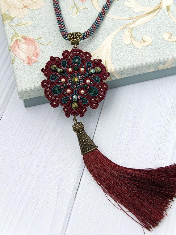 Embroidered tassel necklace Tassel soutache necklace Burgundy