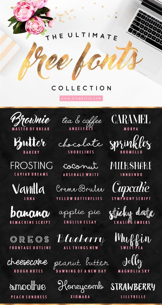 The ultimate free fonts collection to download for your blog, website or logo design: