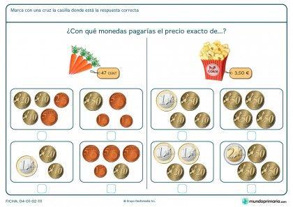 Ficha de pagar las palomitas con monedas para primaria