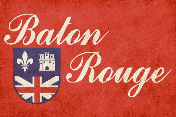 Baton Rouge City Flag Poster Print 16x20 8x10 Dorm Bar Wall Art Aged
