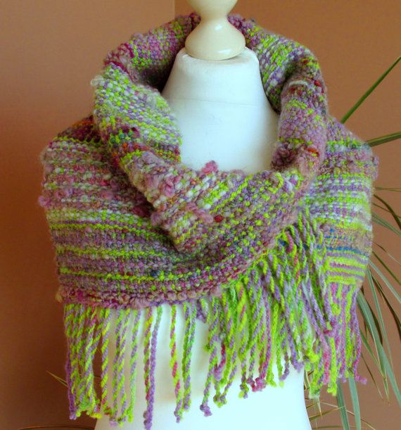 Handwoven Cowl Scarf made of Handspun Art by PastoralWool on Etsy