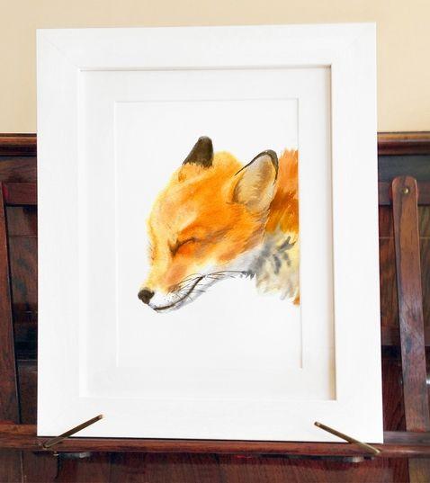 Naklejka tkanina na ścianę 'Mama Fox Print  A3'