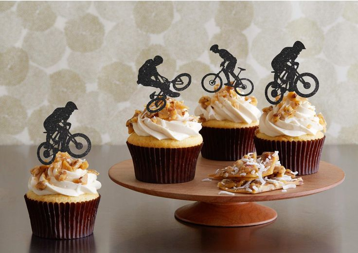 """Bicycle Cupcake Toppers Bicycle Party Boy's Birthday Cupcake Toppers Sports Cupcake Topper Bicycle Team Party Cupcake Toppers. Bicycle Cupcake Toppers Bicycle Party Boy's Birthday Cupcake Toppers Sports Cupcake Topper Bicycle Team Party Cupcake Toppers Set of 12 cupcake toppers - there will be 4 of each style. The lovely TWO SIDED Gold Sparkle. These adorable cupcake toppers are approximately 2.5"""" wide by 3"""" high not including the wooden stick. Perfect for a Birthday party. During…"""