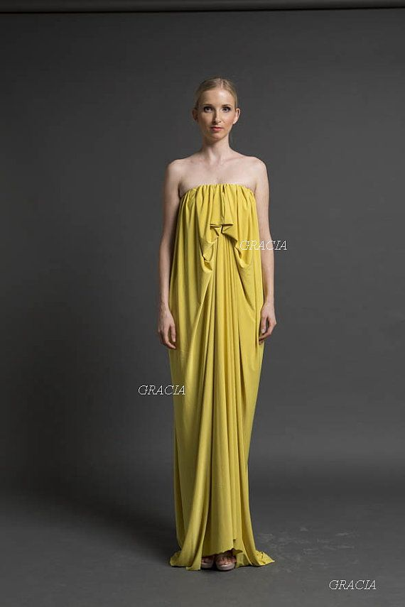 Maxi dress prom dress bridesmaid dress unique piece for Yellow maxi dress for wedding