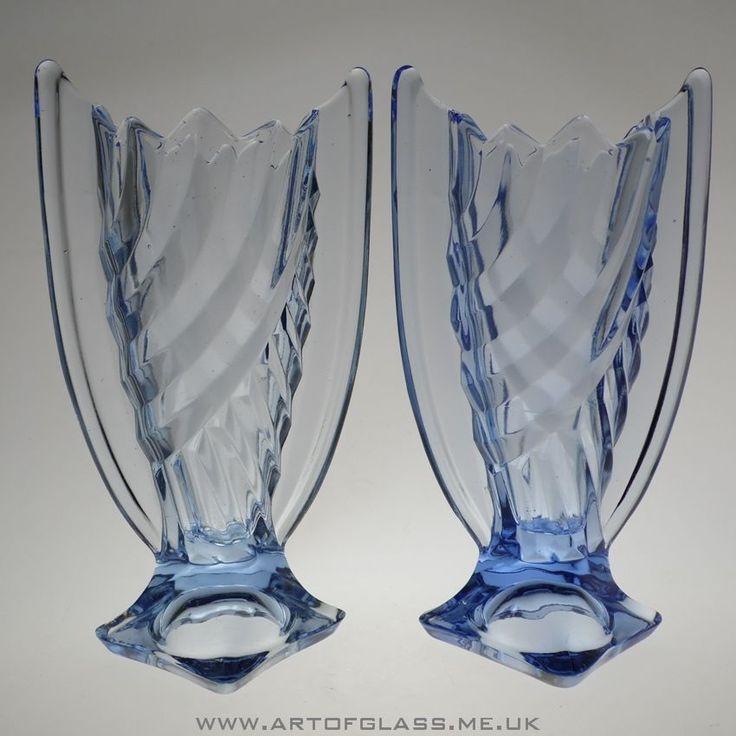 Pair of Art Deco blue pressed glass vases