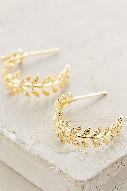Feathered Frond Hoops - anthropologie.com
