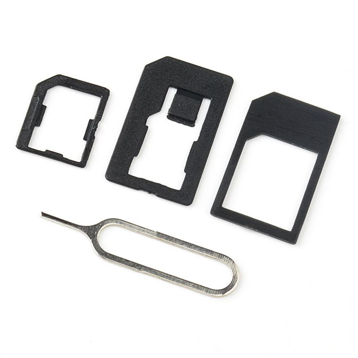 3 in 1 Nano Micro Standard SIM Card Adaptor Adapter & Tools For Iphone 4 4S 5 Black