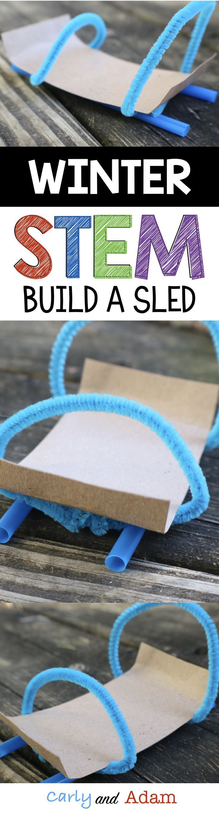 For this winter themed STEM challenge students build a sled that can slide down a ramp.