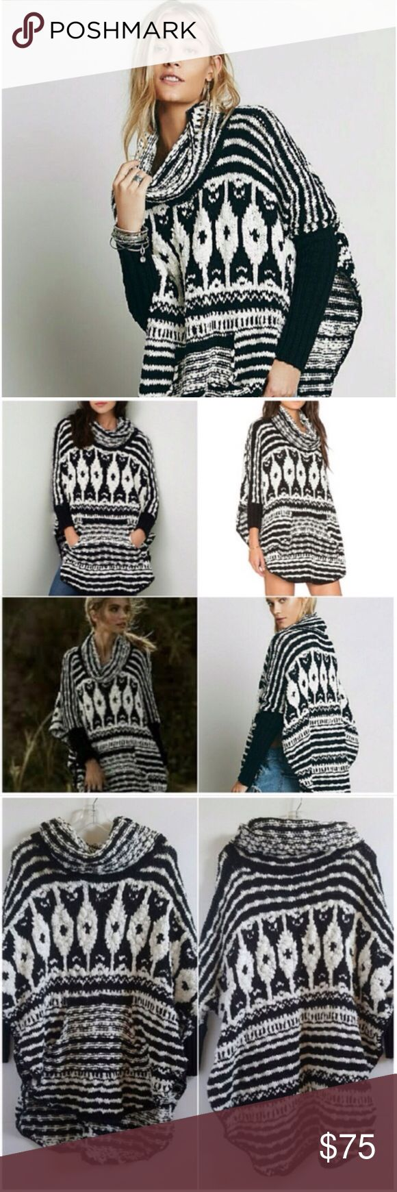 Free People chunky knit black and white poncho Free People chunky knit black and white poncho. Size small. Oversized and cozy!                                                   -Cowl neck     -kangaroo pocket     -Long knit arms         -approx 30in length     -93% cotton, 7% rayon     -Dry Clean                   *Like new, only worn a couple times* Free People Sweaters Shrugs & Ponchos