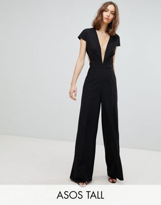 ASOS TALL Plunge Neck Jumpsuit with Wide Leg and Open Back