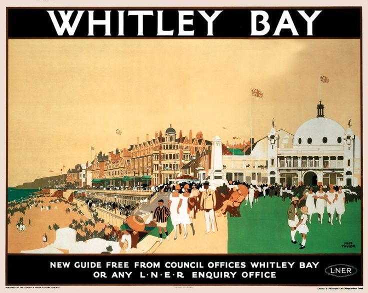 Whitley Bay Railway Spanish City Poster 50x70cm. Featuring iconic white Dome & Art Deco 50's dancers