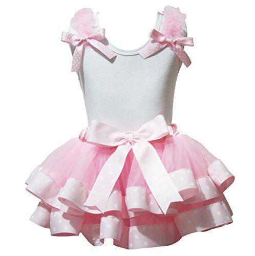 Petitebella Plain White Shirt Pink Dots Ribbon Petal Skirt Nb-8y